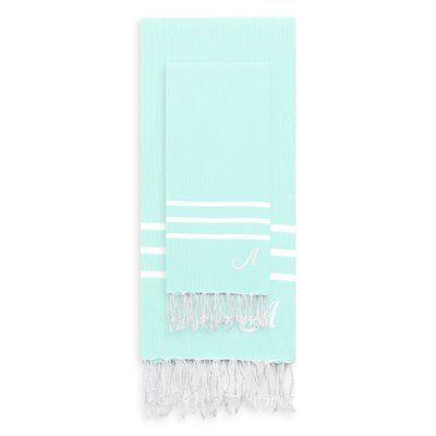 Linum Home Textiles Alara Turkish Pestemal 2 Piece Towel Set Color: Soft Aqua, Letter: T