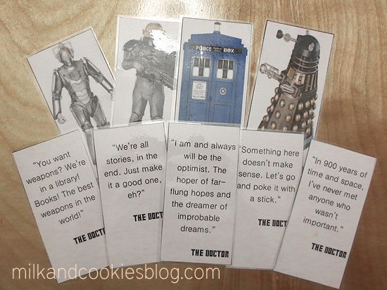 Free printable Doctor Who bookmarks