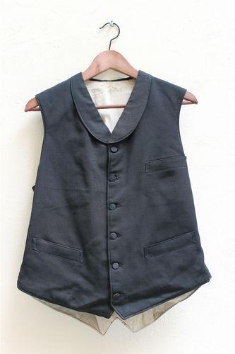 VTG French black waistcoat faded work chore 1920 hobo linen CDG RRL farmer rare