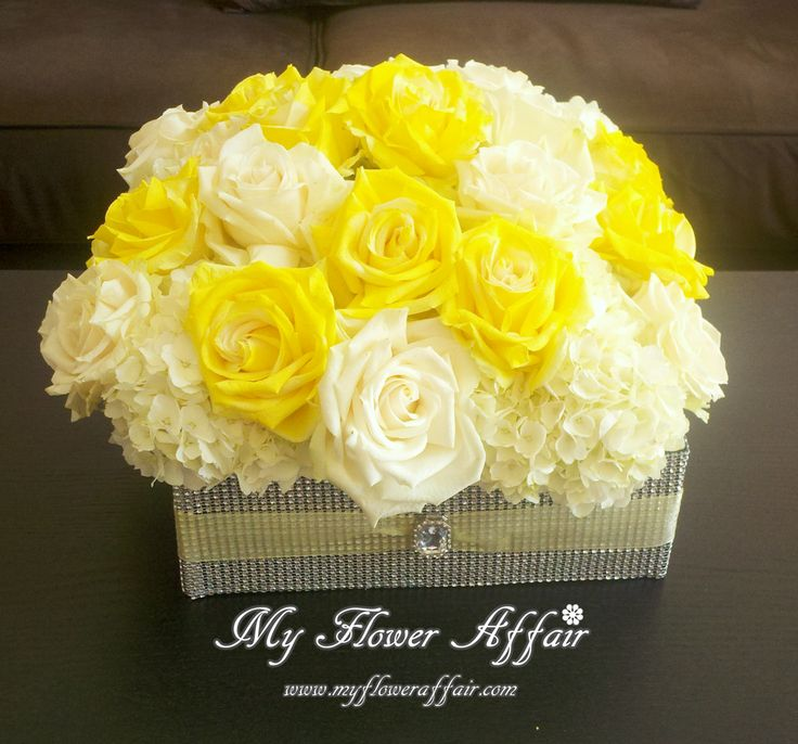 yellow and white roses hydrangeas Wedding flowers and custom linens by My Flower Affair.  www.myfloweraffair.com… wedding flowers,  wedding decor, wedding flower centerpiece, wedding flower arrangement.