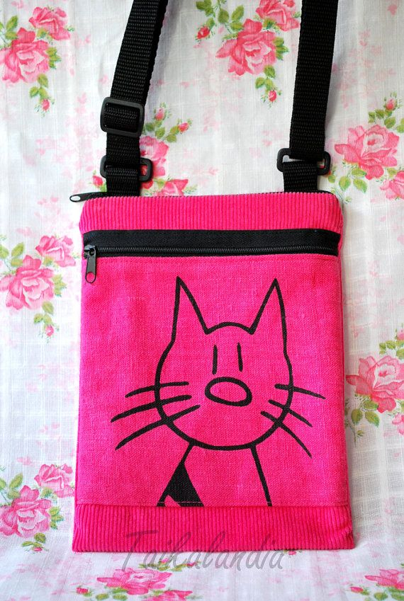 Pink Hand dyed Corduroy Messenger Bag  Pink Cat by TaikaLand