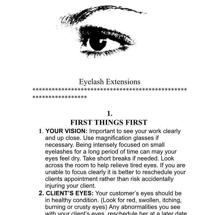 Eyelash extension training booklet how to apply eyelash