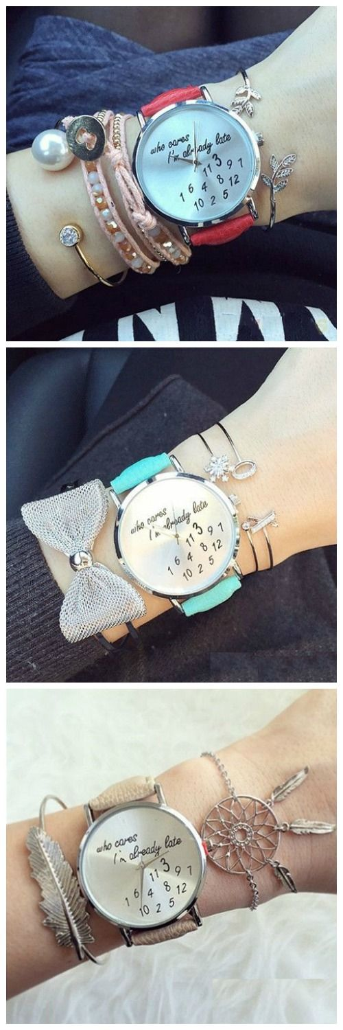 Unisex Men Women Lady Girls i'm already late Leather Strap Watches Quartz Wristwatch
