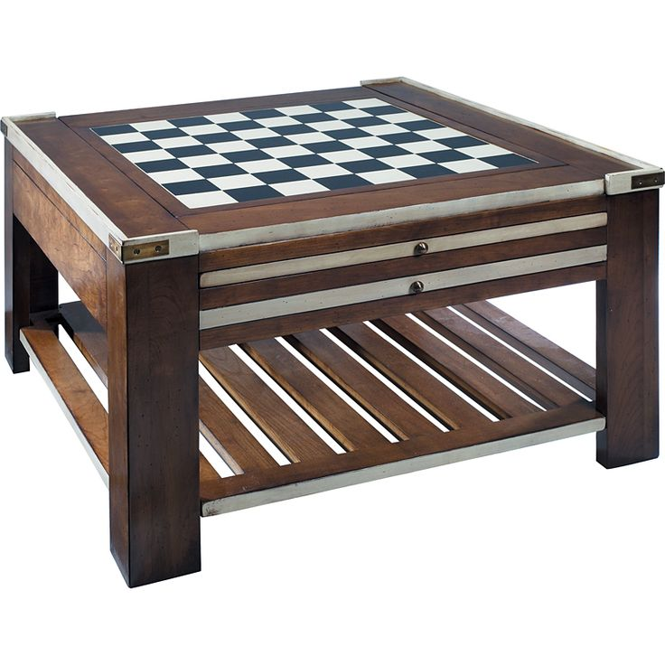 Game table with storage Game Table, Ivory