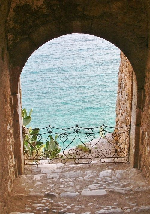 Beautiful Iron...  View of the sea through an archway - Spetses, Greece