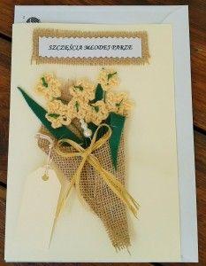 Kartka ślubna  szydełkowy bukiet