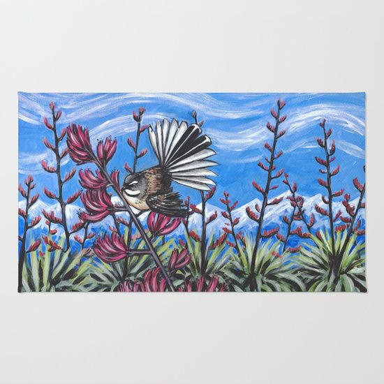Fantail in Harakeke rug for sale http://society6.com/product/fantail-in-the-harakeke_rug#36=288