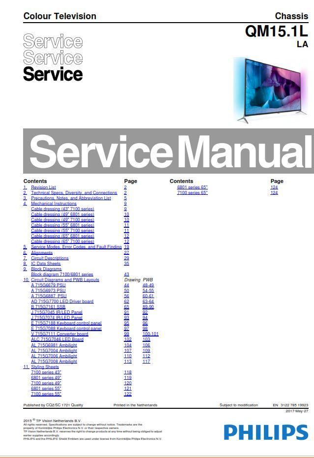 Philips 49pug7100 55pug7100 Tv Service Manual And Repair Instructions Philips Tv Services Manual