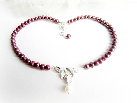 Freshwater pearls necklace red freshwater pearls beaded