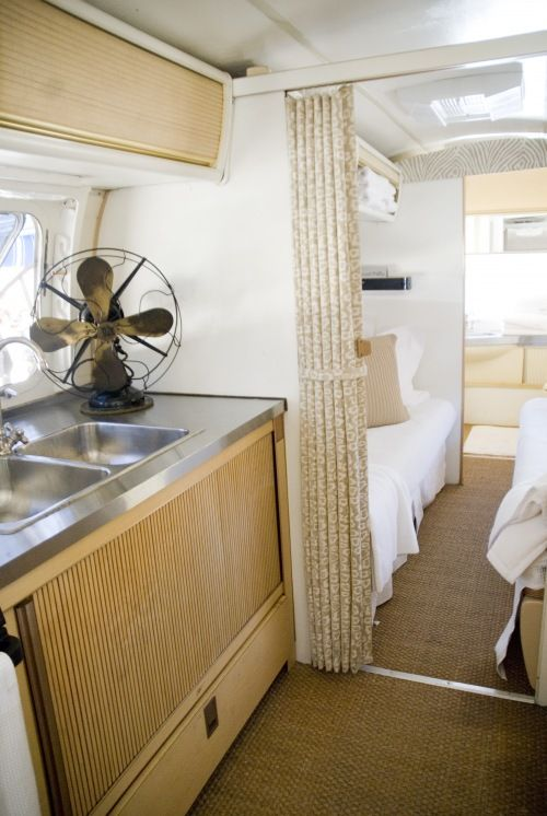 Trailer interior. Love. How serene!  I want this in our camper, but white and three boys and a HUGE dog is out of the question.... :-)