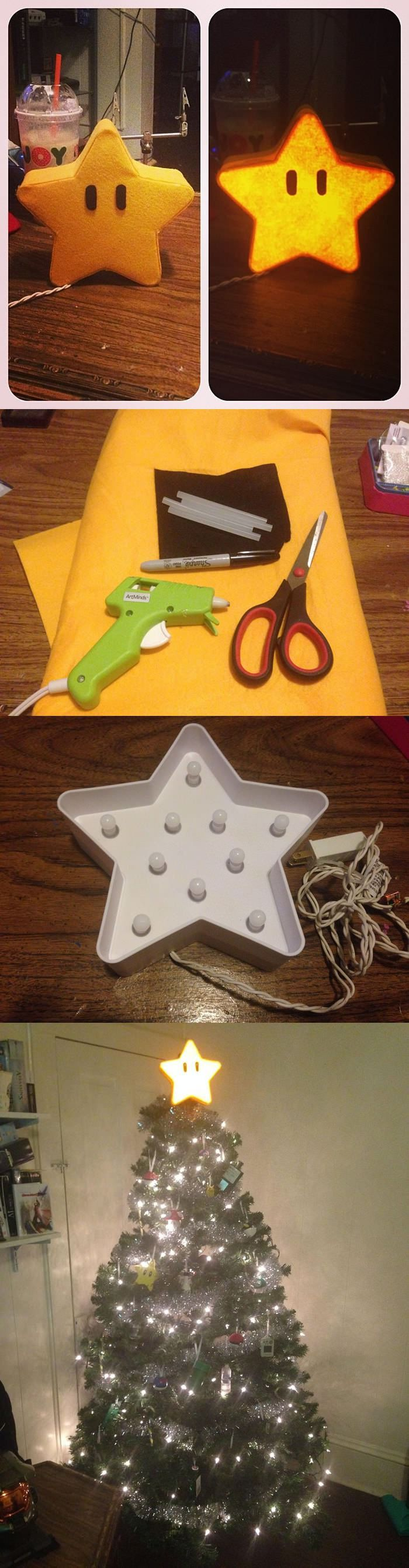 I repurposed a lamp from Target to make a Mario star for the top of my Christmas tree.