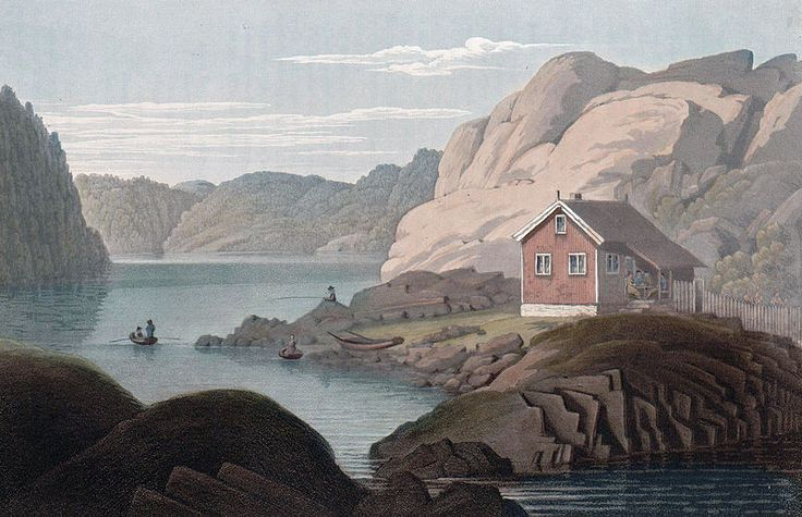 """Gomöe Isle (JW Edy plate 27). English: """"Gomöe Isle"""" Norsk bokmål: «Öen Gomöe» Drawing by John William Edy (1760-1820) from his journey along the coast of Norway during the summer of 1800. Published in Boydell's picturesque scenery of Norway in 1820."""