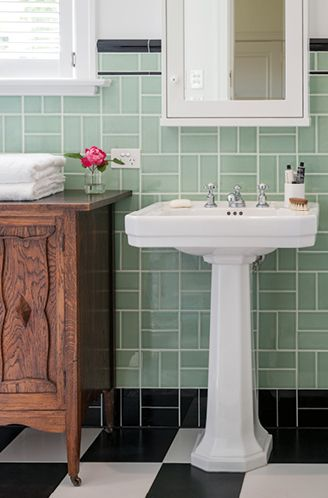 Perrin & Rowe Art Deco pedestal basin & tapware | Bathroom Gallery | The English Tapware Company