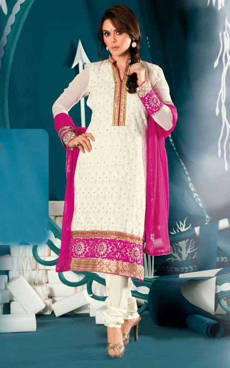 OFF WHITE & PINK GEORGETTE EMBROIDERED SALWAR KAMEEZ - ZIN 9003