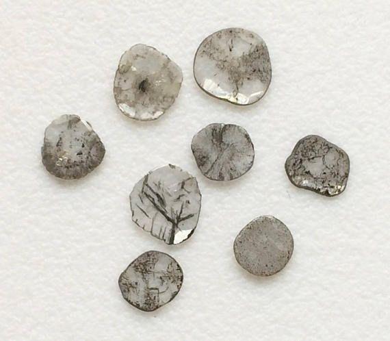 4 Pcs Rare Diamond Slice 5-7mm Natural Black & White Loose
