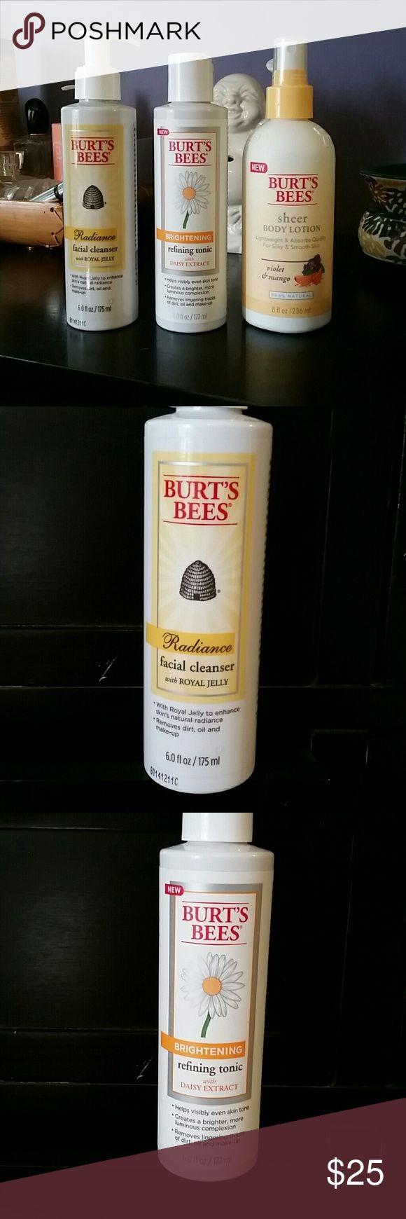 New Burt's Bees Facial cleanser + Refining tonic. Burt's Bees Radiance facial cleanser 6 oz. Brightening refining tonic 6 oz. Sheer body lotion, Violet + Mango. 8 oz. Burt's Bees Other