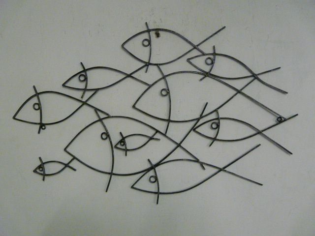 Wire art contemporary metal wall art wire fish shoal - How to fish wire through exterior wall ...