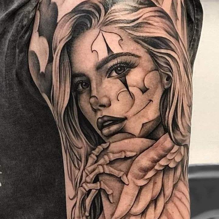 Black White Tattoo Clown Girl Tatt Clown Tattoo Black White Tattoos White Tattoo