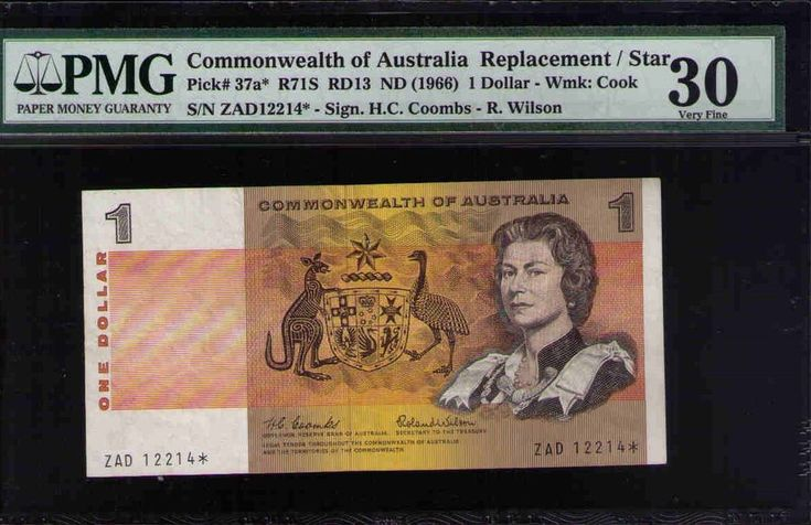 Star Note R71S 1966 COOMBS / R WILSON $1 Comwealth of Australia PMG 30 VERY FINE