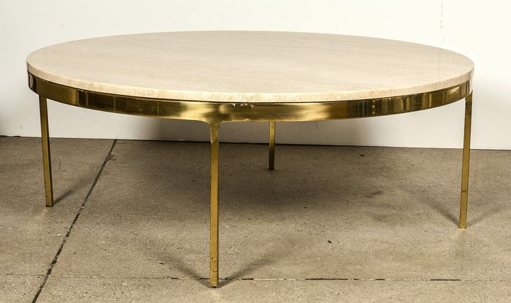 Brass Travertine Round Coffee Table By Nico Zographos From A Unique Collection Of Antique