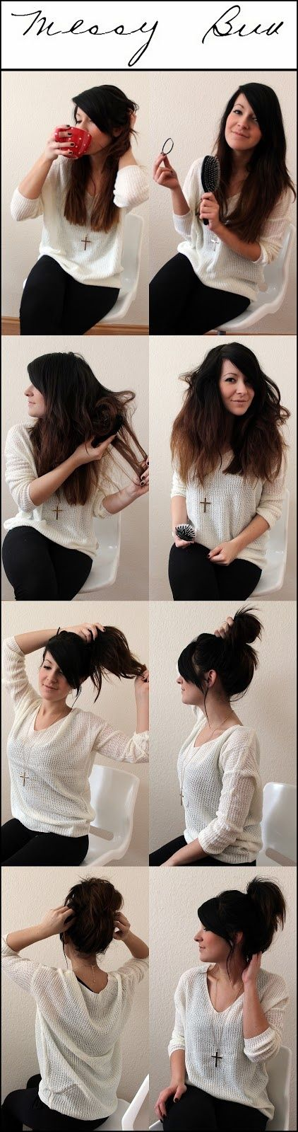 Messy bun tutorial. Image via Popular Hair Styles on Tumblr - seriously, i miss my long hair, can't wait to have it back so i can try this!