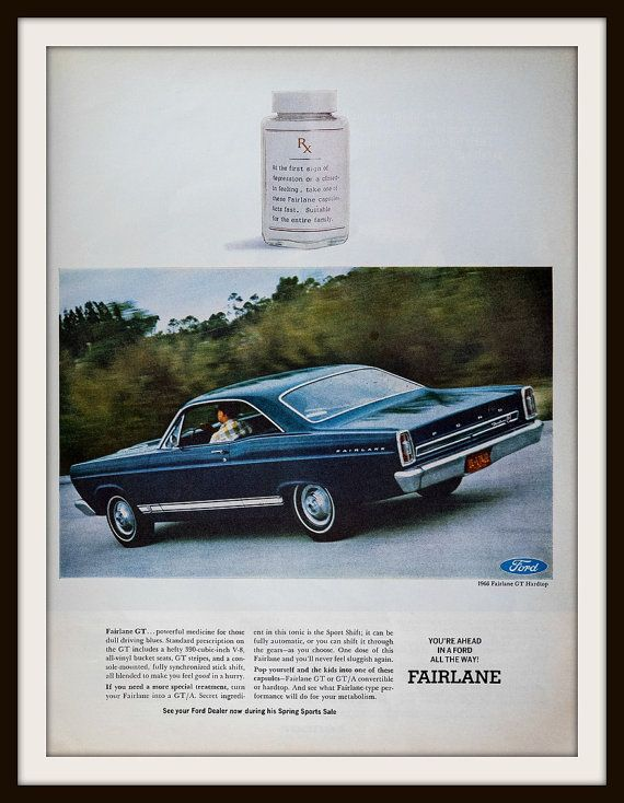 1966 Ford Fairlane GT Advertisement: Vintage Ford ad. Vintage car ad. Vintage Fairlane ad. Ford Fairlane GT