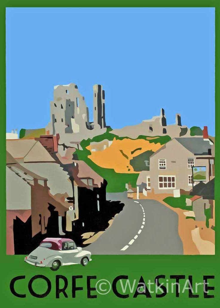 Corfe Castle. Original painting and prints by Richard Watkin. www.watkinart.co.uk