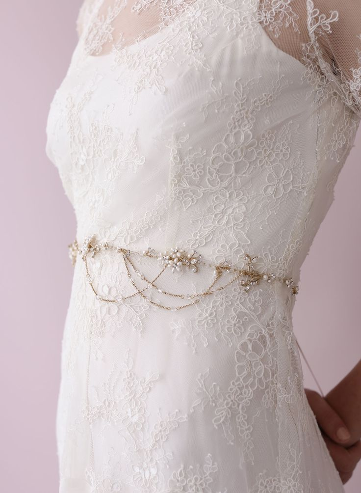 Sweet blossom belt with swags - Style # 422 (2014, accessories, belts, bridal sashes, hair vine, hair vines, headpieces, made to order, sash...