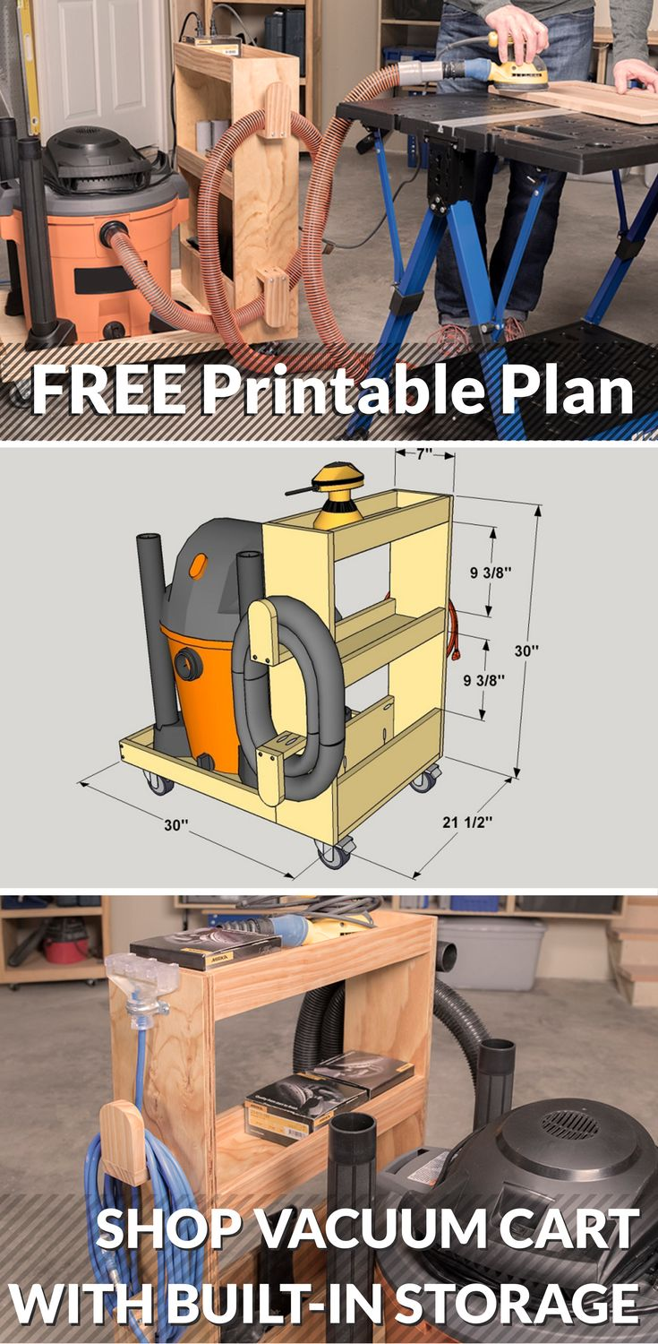 DIY Shop Vacuum Cart with Built-In Storage | Free printable plans with how-to steps, tools and materials list, cutting list and diagrams. | Make your shop vacuum easier to move around, plus create storage for hoses and other accessories, with this handy vacuum cart. It's sized to hold a 16-gallon shop vacuum, and offers lots of additional storage space. You can build one easily using a couple of 1x3 boards and a half-sheet of plywood.