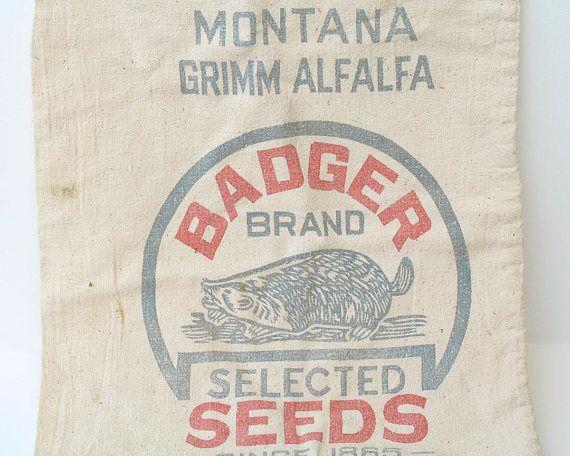 Vintage Badger Brand Seeds Bag Montana Grimm Alfalfa 1 Bushel