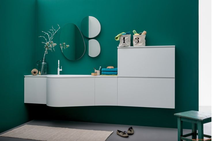 Versa B by Birex - Bath cabinet with top and integrated sink in Korakril™