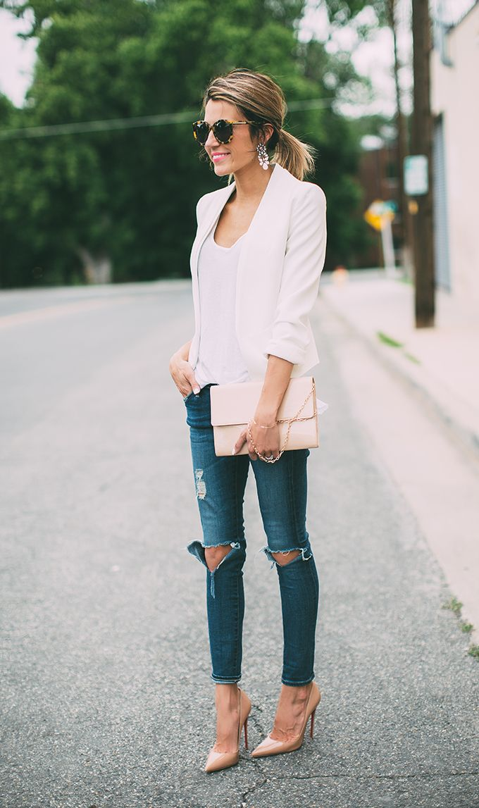 white blazer with ripped jeans