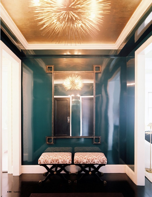 Lacquered Walls + Gold Leaf Ceiling + Starburst Flushmount | Lonny Mag (HOLY BANANAS this is crazy gorgeous!!!!!!!)