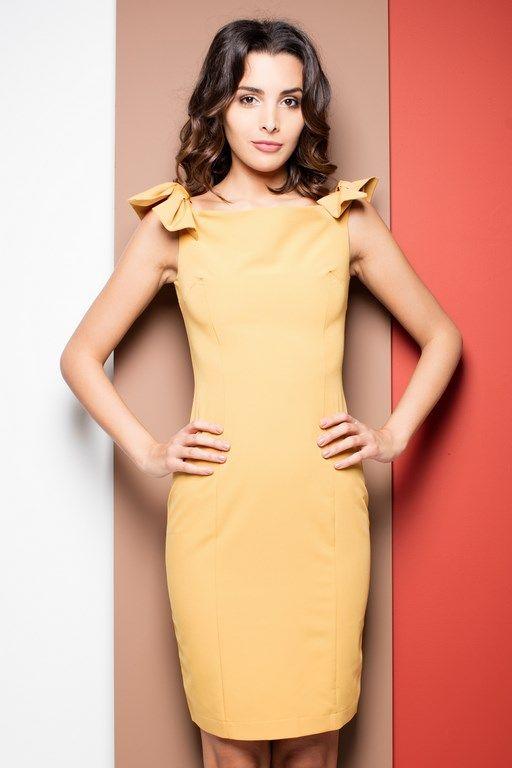 Żółta ołówkowa sukienka bez rękawów