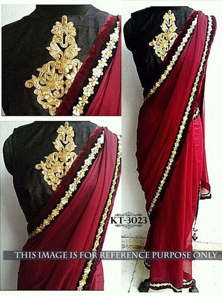 Indian Bollywood Style Heavy Wedding Beautiful Party Designer Saree Sari KT3023
