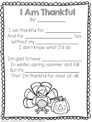 Free Thankful Poem Template   This easy to use poem template is perfect for a Thanksgiving writing activity! Students fill in the blanks with things they are thankful for and end up with a cute rhyming poem of their very own!Get the free download HERE!  FREE Thanksgiving printables Mrs. Thompson's Treasures poem poem template thankful Thanksgiving