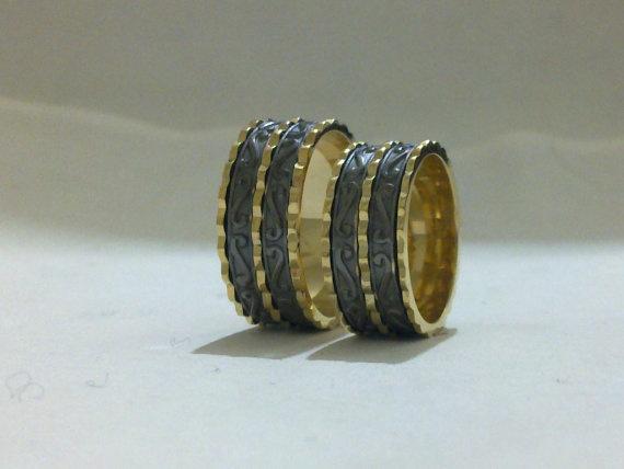 weddingband rings 14k gold yellow and silver  by ephesusdiamond, $710.00