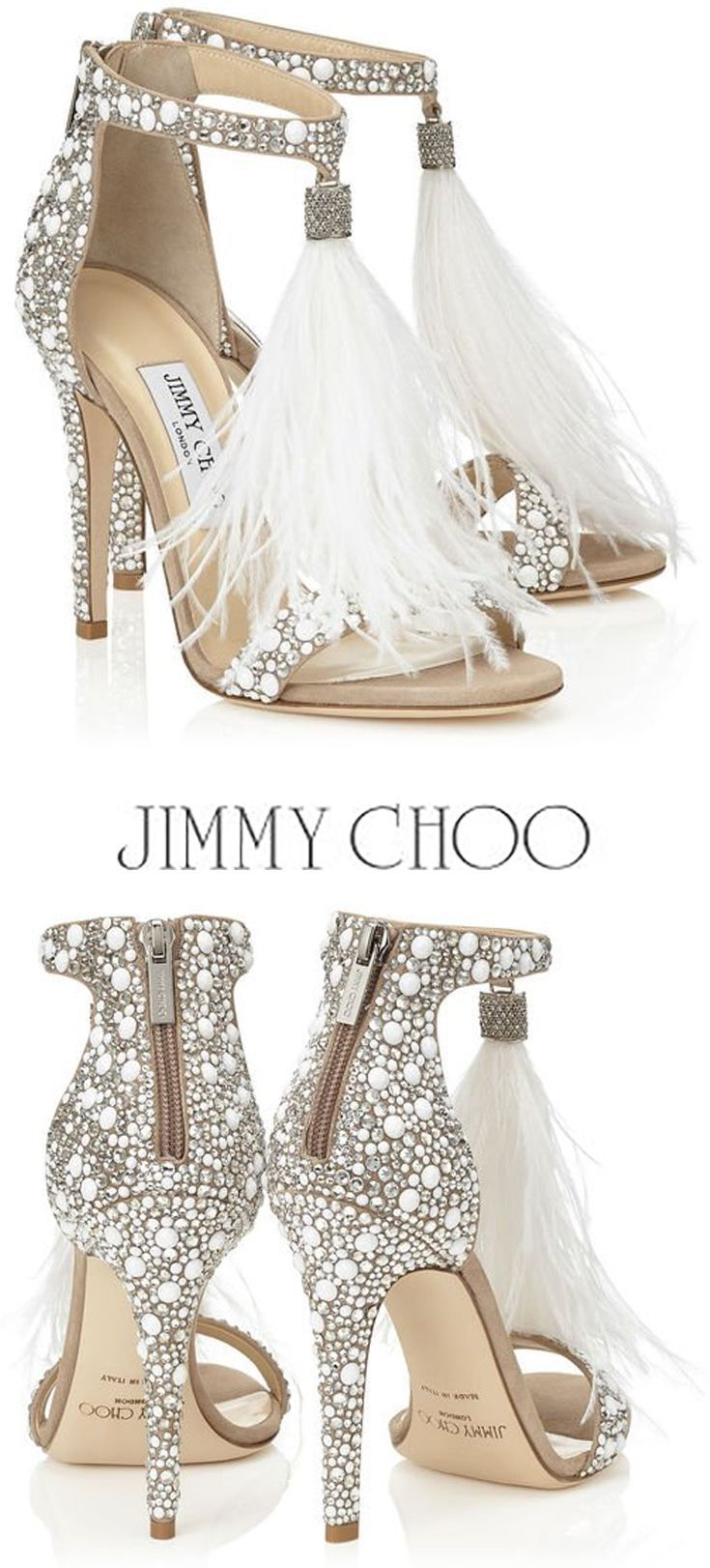 b8ca92d200d JIMMY CHOO VIOLA 110 White Suede and Hot Fix Crystal Embellished Sandals  with an Ostrich Feather Tassel  shoes  heels  ad  sandals  jimmychoo  tassel