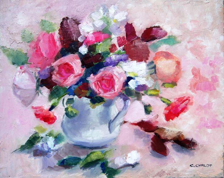 Cécile Chalot - Bouquet de roses, seringats et œillets huile sur toile 50*40 cm