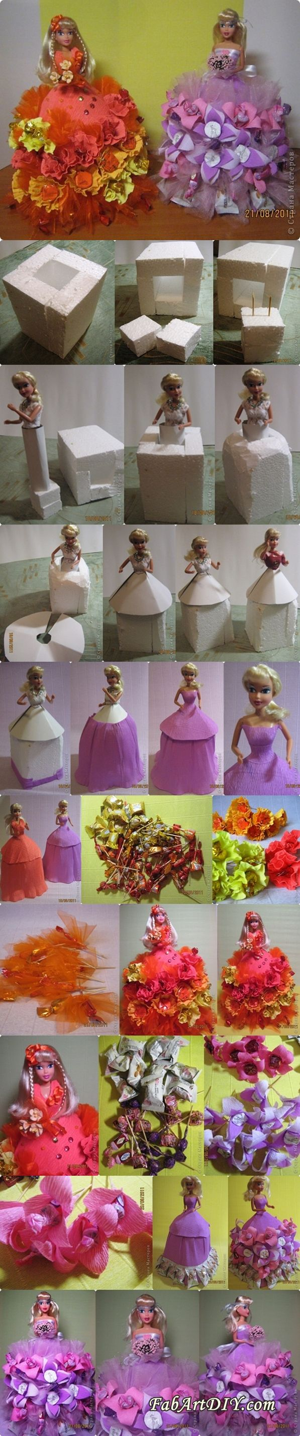 DIY Chocolate Wrapped Flower Barbie Dress | www.FabArtDIY.com LIKE Us on Facebook == https://www.facebook.com/FabArtDIY