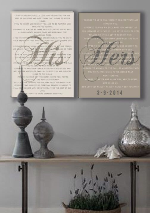 Mr and Mrs wedding Vow Wall Art on Stretched Canvas by DesignerCanvases on Etsy https://www.etsy.com/listing/189101327/mr-and-mrs-wedding-vow-wall-art-on