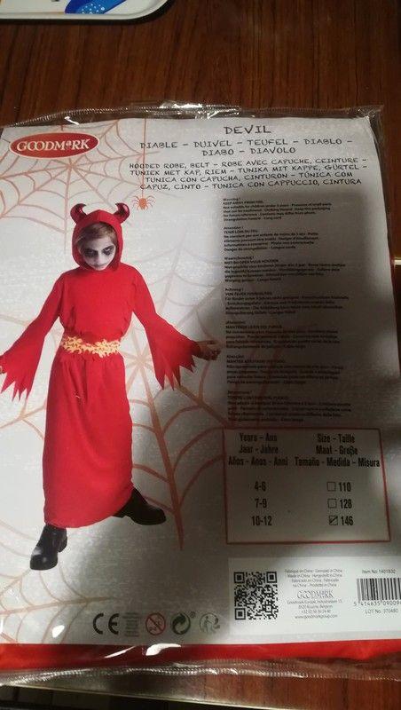 d6140b40188a7 Déguisement Diable neuf - Encore dans son emballage d origine 10 12 ans 146