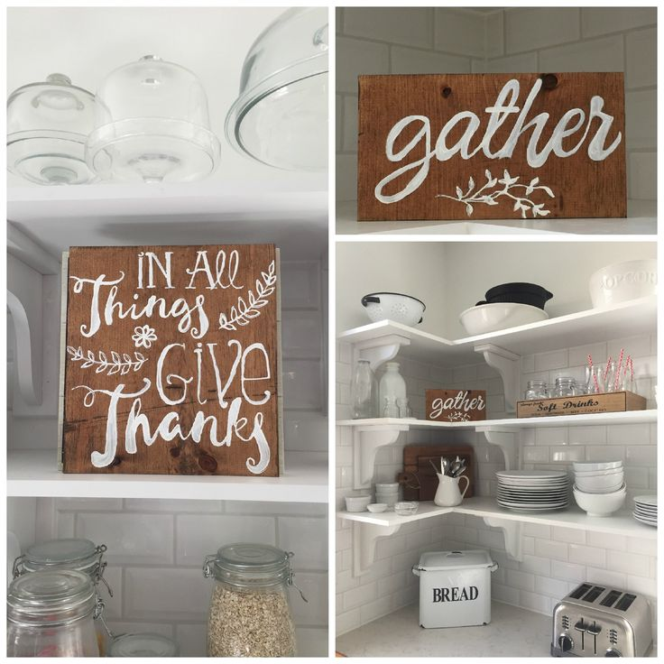wooden DIY thanksgiving signs in my  farmhouse kitchen