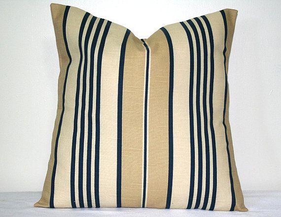 Beige with Navy Blue Stripes, Robert Allen 18 x 18 inch Pillow, Accent Pillow, Throw Pillow ...