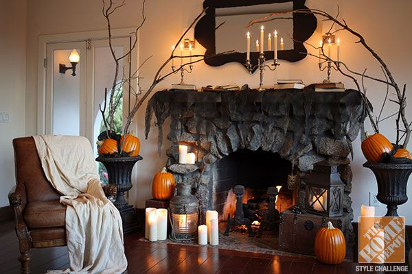 halloween decorations for the mantel from love manor the home depot halloween decorations. Black Bedroom Furniture Sets. Home Design Ideas