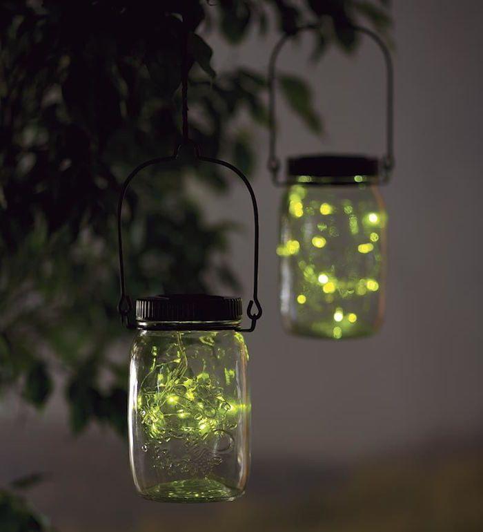 lanterne exterieur solaire dans un bocal en verre suspendu avec guirlande lucioles led