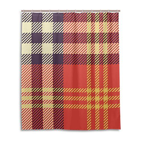 VAWAS Colorful Stripes and Checks Polyester Fabric Waterproof Bathroom Shower Curtain Set with 12 Hooks66w x 72h Inch *** Be sure to check out this awesome product. (Note:Amazon affiliate link)