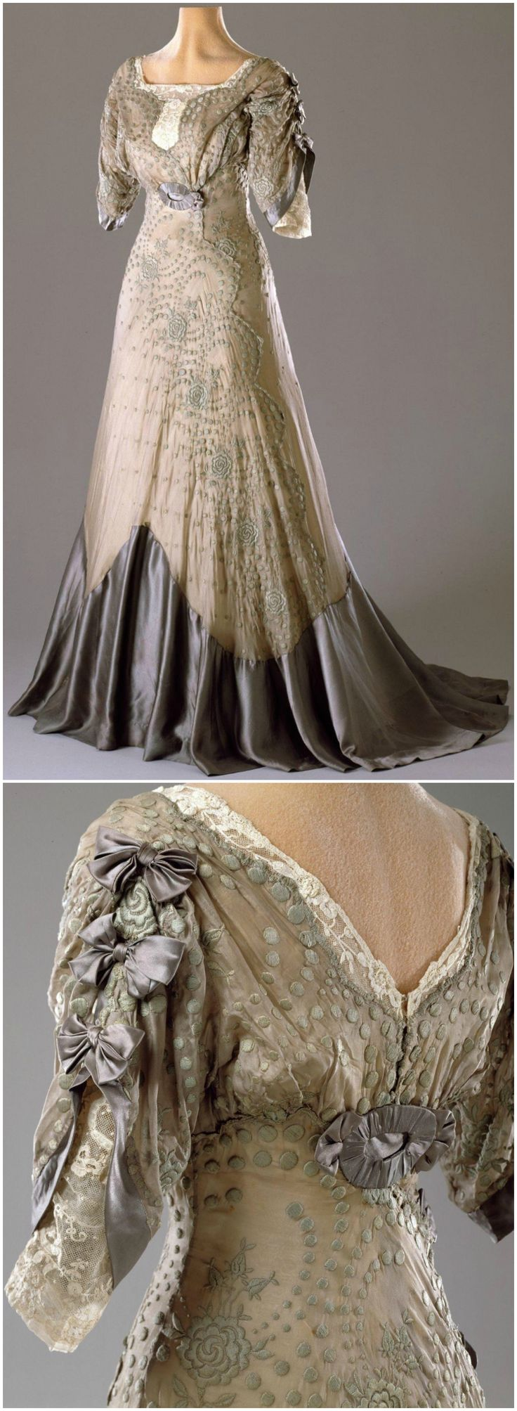 "Evening dress, 1909-11, Hillwood Estate, Museum & Gardens. Belonged to Marjorie Merriweather Post. This garment represents a typical late Edwardian party dress with a high waist and fitted upper body placed on a boned bodice. Other typical features are the short, ""tulip"" shaped sleeves and square neckline. The under-base of the skirt is yellow silk taffeta with an over-layer of grey silk organza embroidered with flowers in green cotton thread. The dress has a formal evening train."