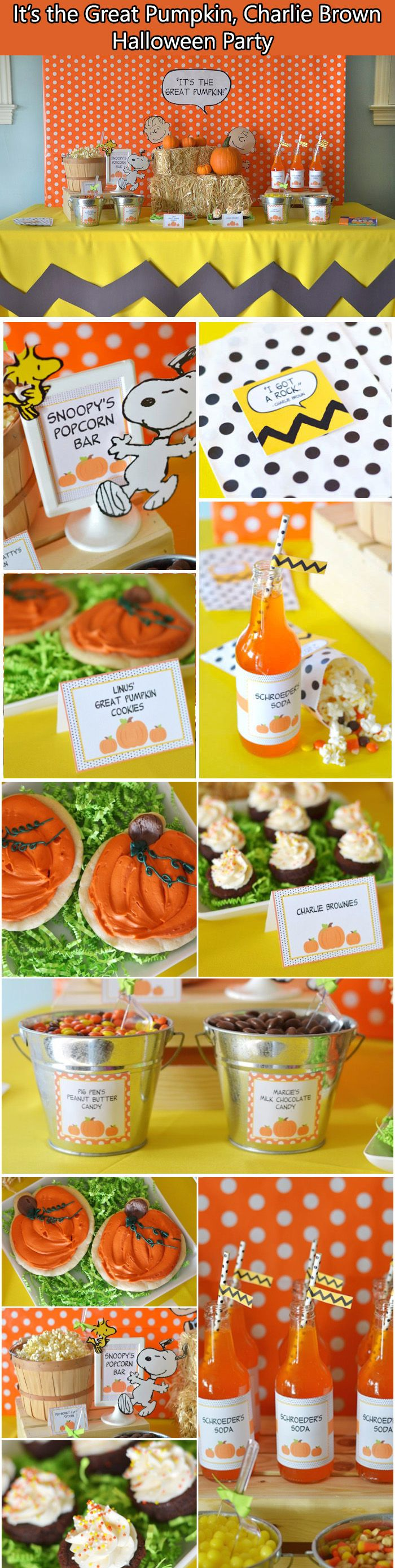 It's The Great Pumpkin, Charlie Brown Halloween Party.  Some great ideas! Look at that table cloth!