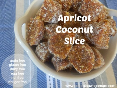 Apricot Coconut Slice - the real food way! Gluten free, grain free, egg free, nut free, vegan and absolutely no nasties.
